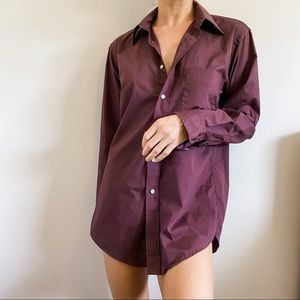 Dior Intimates & Sleepwear - VTG Christian Dior Burgundy Purple Button Down
